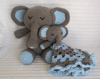 Crochet elephant stuffed animal plush and elephant baby lovie boys first birthday gift crochet elephant stuffed animal baby boy gift set elephant negle Image collections