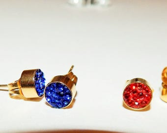 18k gold plated Surgical stainless steel blue earrings