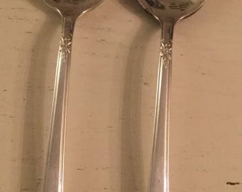 Set of two WM Roger mountain rose pattern large soup spoons