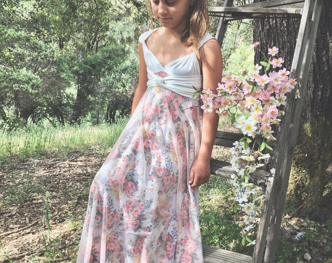 Wildflower Floral Print with Peach Chiffon Overskirt Octopus Infinity Twirl Dress~Aline Maxi- Custom Choose fabrics