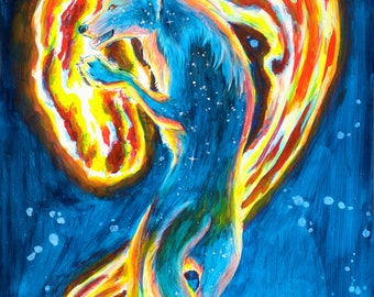 Fantasy Blue Fire Wolf 11X14 POSTER PRINT