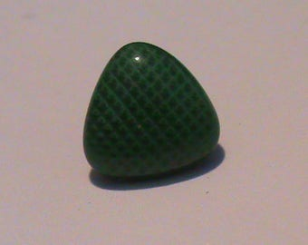 set of 6 small green triangular buttons with patterns