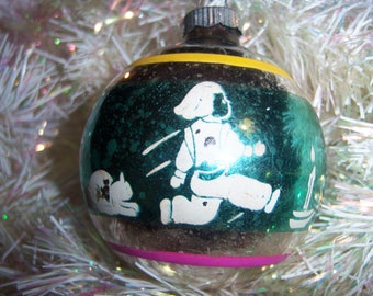 Old Vintage Shiny Brite 1950's Jack Be Nimble Mercury Glass Stenciled Christmas Ornament Rare