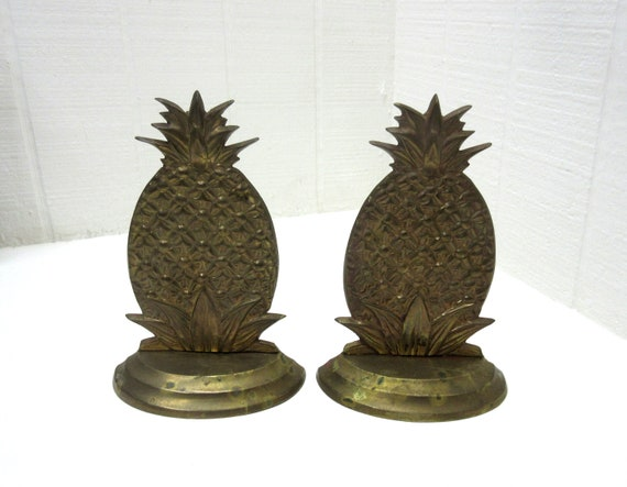 Vintage Brass Bookends Pineapple Brass Yield House Bookends