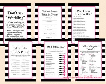 Hot Pink, Black and White Stripes Bridal Shower Games Package, Printable, Download, Modern Bridal Shower Games, Wedding Shower Games BS22