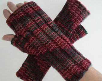 Knit Fingerless Gloves / Earth Tones /Brown Knit Texting Gloves