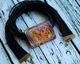 Polymer clay pendant necklace Choker necklace Handmade jewelry for her Unique jewelry Mokume gane jewelry Pendant with cords Clay pendant