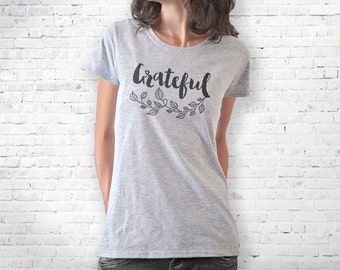 Thanksgiving T-shirt-grateful T-shirt-thankful tank top-Holiday t-shirt-custom family tees-women shirt-gratitude shirt-NATURA PICTA-NPTS109