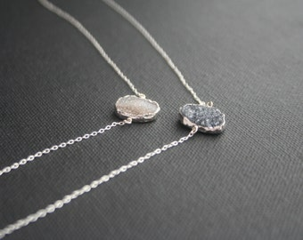 Silver Necklace with Druzy Pendant - White, Black, Gray Druzy - Natural Druzy