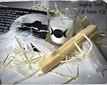 Full moon kit, selenite kit, healing stone, Palo Santo, wicca, wiccan, meditation kit, healing crystal, moon ritual kit, smudging kit, pagan