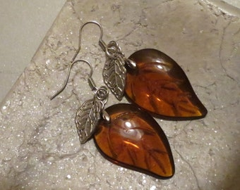 Leaves of glass, earrings,-old and new-Hippi-summer-Boho-jewellery-handmade-earrings by Marie
