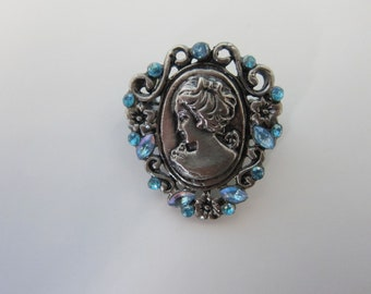 Antique Silver Tone Vintage Brooch with Light Blue Rhinestones