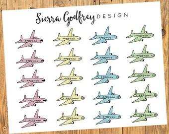 Airplane stickers 0017 - travel stickers, trip planning, flight stickers, Erin Condren, Day Designer, bullet journal, Happy Planner