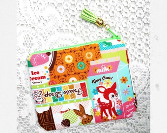handmade small stash bag - puddings ! - from Japan fabric kawaii coin purse pouch mini wallet