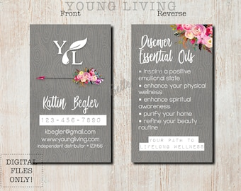 Wood Grain - Young Living Essential Oils - Printable Business Card Design - DIGITAL FILES ONLY - Custom - Marketing - Health - Swag