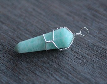 Amazonite Wire Wrapped Pendant V1