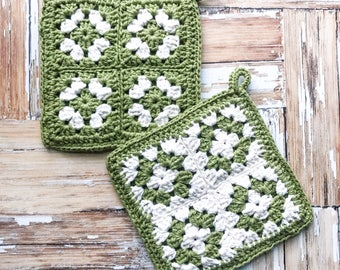 Pot Holder, Crochet Pot Holder, Cotton Pot Holder, Kitchen Decor, Hot Pad, Crochet Hot Pad, Granny Square Pot Holder,Green Pot Holder,Trivet