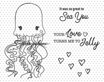 Lovebug Jellyfish with 2 sentiments - instant download digital stamps by Tierra Jackson