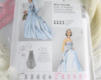 Wedding Dress Pattern, Vintage Wedding Dress, Pattern, 50s, 50s Pattern, 50s Wedding Dress, Burda, 7251, Sleeveless, Sleeves, Petticoat