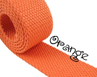 """Cotton Webbing - Orange - 1.25"""" Medium Heavy Weight for Key Fobs, Purse Straps, Belting - SEE COUPON"""