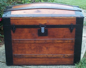 759 Restored Antique Dome Top or Humpback Trunk w Victorian Lithograph Under the Lid, New Leather Handles