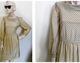 1970s MOD yellow and blue striped secretary dress // Flouncy cuffed sleeve whimsical striped dress size S