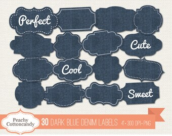 BUY 2 GET 1 FREE 30 Digital Dark Blue Denim Labels clipart - denim labels clip art - jeans label clipart - digital label -Commercial Use Ok