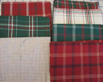 7 Christmas plaid fat quarters red green white