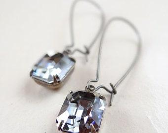 Black Diamond Swarovski Earrings Bridal Bridesmaid Retro Wedding Earrings