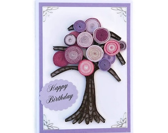 Paper Quilled Card Tree of Life-Paper Quilling OOAK- Keepsake Art-Paper Quilled Purple Pink Tree-Happy Birthday-Family Card-Nature Lover