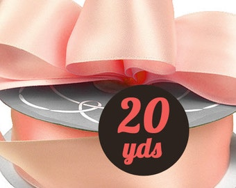 "Satin Blush Pink Ribbon - 7/8"" wide at 20 yards"