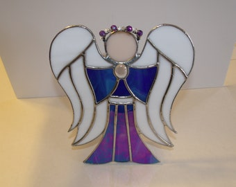 Large Stained Glass Angel, Free Standing Angel or as Tree Topper