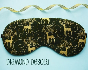 Eye Sleep Mask Festive Gold Metallic Reindeer Print on Dark Green Cotton Travel, Spa, Blackout. UK Made Christmas Gift