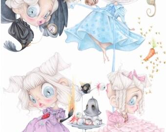 Tim Burton pop surrealism miss peregrine peculiar children art print Eva Green Ransom Riggs pastel