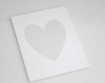 Light Silver/ Light Grey Shimmer Heart on White Shimmer background // light grey heart print // light grey heart // heart art  //PRINT 5x7