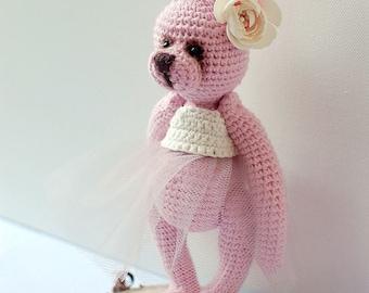 OOAK crochet pink bunny
