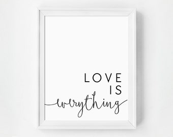 Love Print, Modern Minimalist, Inspirational Quotes, Black and White, Inspirational Art, Home Gallery, Modern Home, Large Scale Art