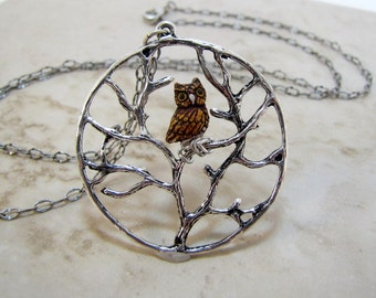 Tree With Hoot Owl Ever Watchful Necklace