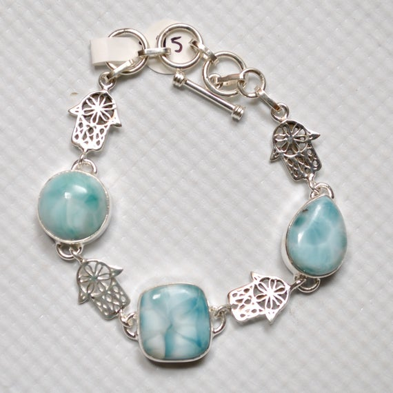 Sterling Silver Three Stone Larimar with Design Bracelet #7146