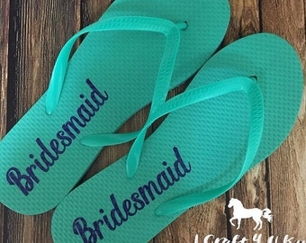 Bride Flip Flops DECALS, Will you be my Bridesmaid, Flip Flops Decals ONLY, Bridal Party, Bridesmaids and Maid of Honor Gifts