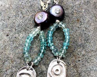 Sterling Silver, Apatite, Chalcedony, & Pearl earrings, ThePurpleLilyDesigns