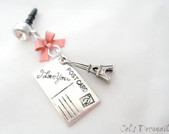 Letters from Paris iPhone dust plug charm, earphone jack charm, Princess phone charm