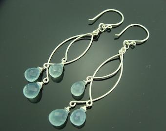 Aqua Blue Chalcedony Chandeliers 925 Sterling Silver Earrings