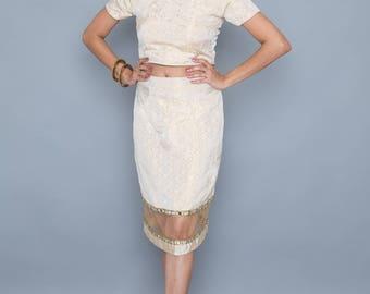 Indian Inspired 2 piece matching crop top and pencil skirt set