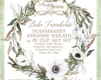 Watercolor Boho Farmhouse Anemone Floral Wreath Digital Eucalyptus Invitation Clipart, Bohemian Printable, flowers, olive leaves, set A