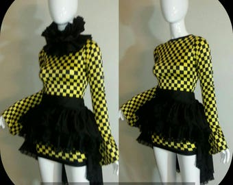 Two in one Harlequin  Bandage dress Bustle skirt and collar shrug