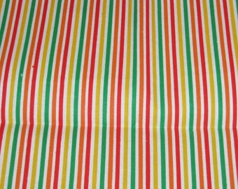 Fabric Fat Quarter 1 cut -clearance fabric fat quarter,  cotton fat quarter, fat quarter fabric, fat quarter, bright stripe yellow green red