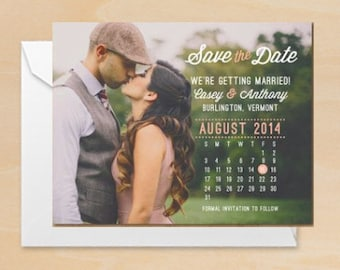 Photo Calendar Save the Date Printable PDF or Printed Cards | Engagement Announcement | Modern Rustic Clean DIY Wedding