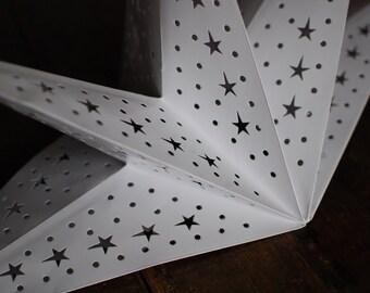 Paper star lantern etsy white star lantern white paper star lantern star lampshade christmas light aloadofball Images