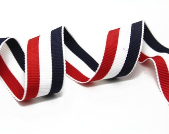 Striped Red Blue White Gross Grain Trim Ribbon for Fashion and Crafts